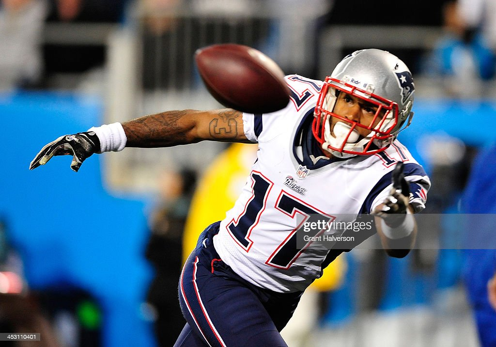 <a gi-track='captionPersonalityLinkClicked' href=/galleries/search?phrase=Aaron+Dobson&family=editorial&specificpeople=6336020 ng-click='$event.stopPropagation()'>Aaron Dobson</a> #17 of the New England Patriots raches for the ball during play against the Carolina Panthers at Bank of America Stadium on November 18, 2013 in Charlotte, North Carolina. The Panthers won 24-20.