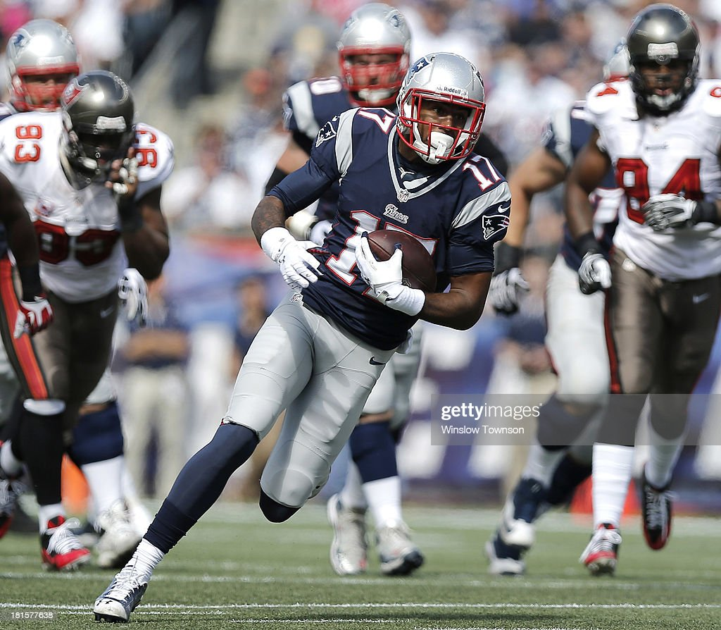 <a gi-track='captionPersonalityLinkClicked' href=/galleries/search?phrase=Aaron+Dobson&family=editorial&specificpeople=6336020 ng-click='$event.stopPropagation()'>Aaron Dobson</a> #17 of the New England Patriots runs upfield against the Tampa Bay Buccaneers during the first half at Gillette Stadium on September 22, 2013 in Foxboro, Massachusetts.