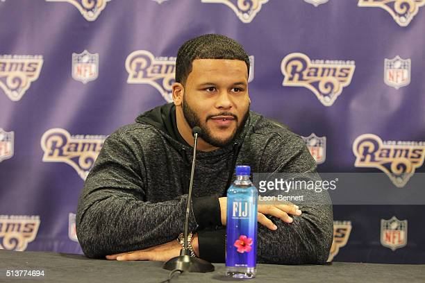 Aaron Donald of the Los Angeles Rams attends the Los Angeles Rams Media Availability on March 4 2016 in Manhattan Beach California