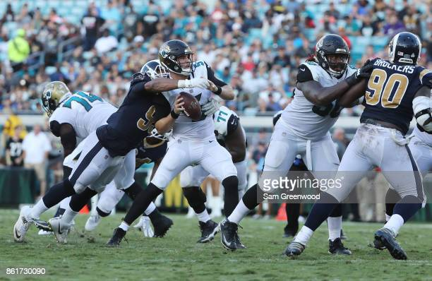 Aaron Donald of the Los Angeles Rams makes a play on Blake Bortles of the Jacksonville Jaguars in the second half of their game at EverBank Field on...