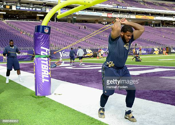 Aaron Donald of the Los Angeles Rams warms up before the preseason game against the Minnesota Vikings on September 1 2016 at US Bank Stadium in...