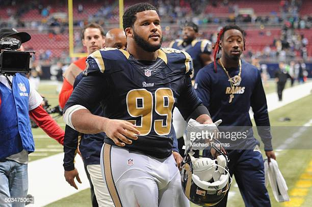Aaron Donald of the St Louis Rams after a game against the Detroit Lions at the Edward Jones Dome on December 13 2015 in St Louis Missouri