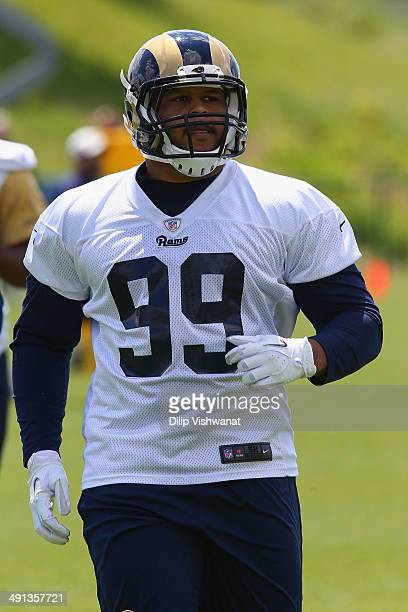Aaron Donald of the St Louis Rams participates in a rookie minicamp at Rams Park on May 16 2014 in Earth City Missouri
