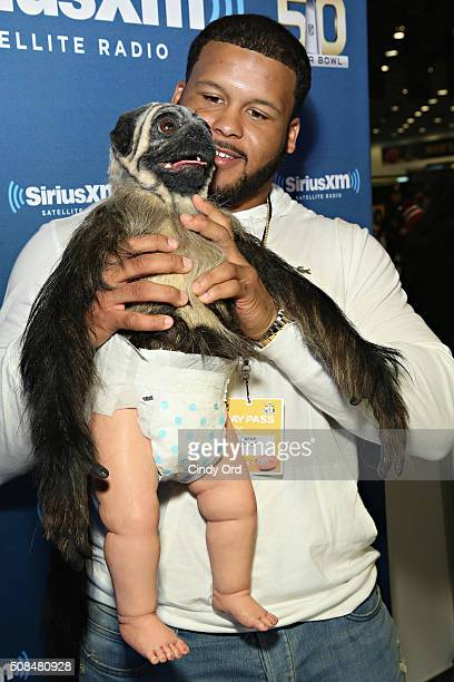 Aaron Donald of the St Louis Rams visits the SiriusXM set at Super Bowl 50 Radio Row at the Moscone Center on February 4 2016 in San Francisco...