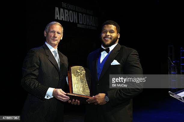 Aaron Donald winner of the Chuck Bednarik Award for Collegiate Defensive Player of the Year attends the 77th Annual Maxwell Football Club Awards...