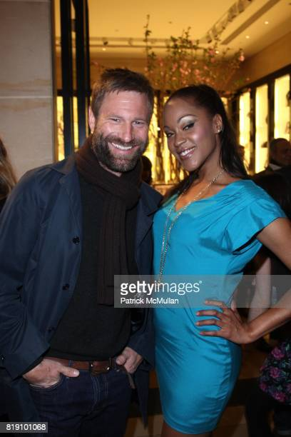Aaron Eckhart and Shontelle attend MOLLY SIMS Launches GRAYCE by MOLLY SIMS at Henri Bendel on March 23 2010 in New York City