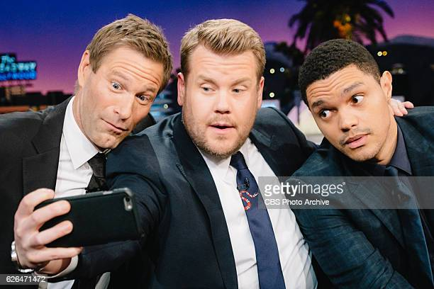 Aaron Eckhart and Trevor Noah chat with James Corden during 'The Late Late Show with James Corden' Tuesday November 22 2016 On The CBS Television...