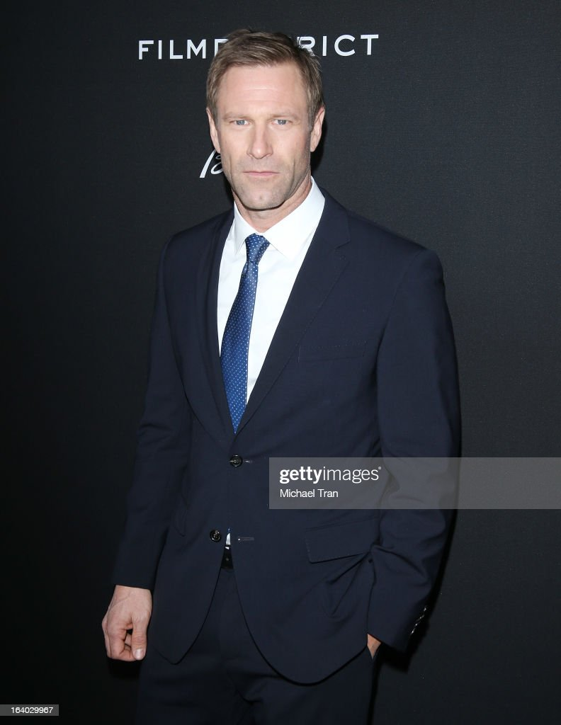 Aaron Eckhart arrives at the Los Angeles premiere of 'Olympus Has Fallen' held at ArcLight Cinemas Cinerama Dome on March 18, 2013 in Hollywood, California.