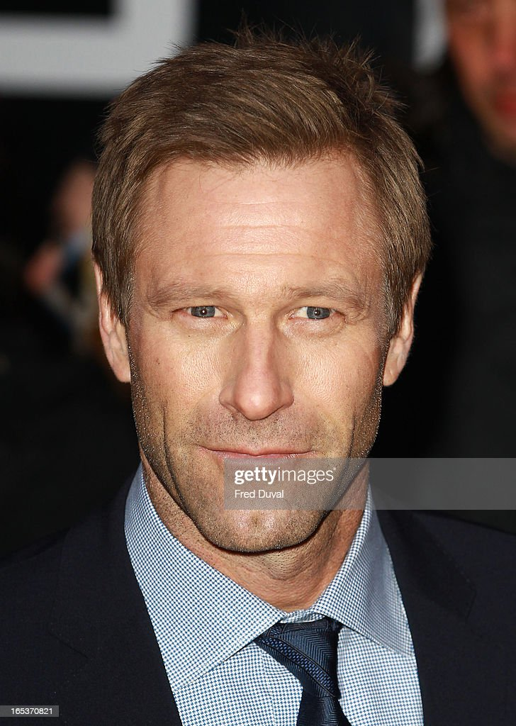 <a gi-track='captionPersonalityLinkClicked' href=/galleries/search?phrase=Aaron+Eckhart&family=editorial&specificpeople=220602 ng-click='$event.stopPropagation()'>Aaron Eckhart</a> attends the UK Premiere of 'Olympus Has Fallen' at BFI IMAX on April 3, 2013 in London, England.