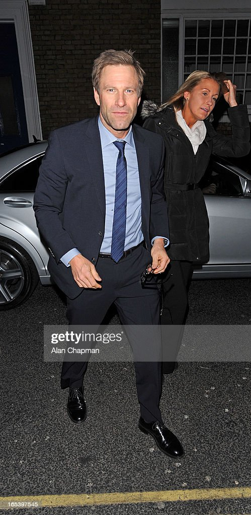 Aaron Eckhart pictured arriving at The Club at The Ivy for the after party following the premiere of Olympus Has Fallen on April 3, 2013 in London, England.
