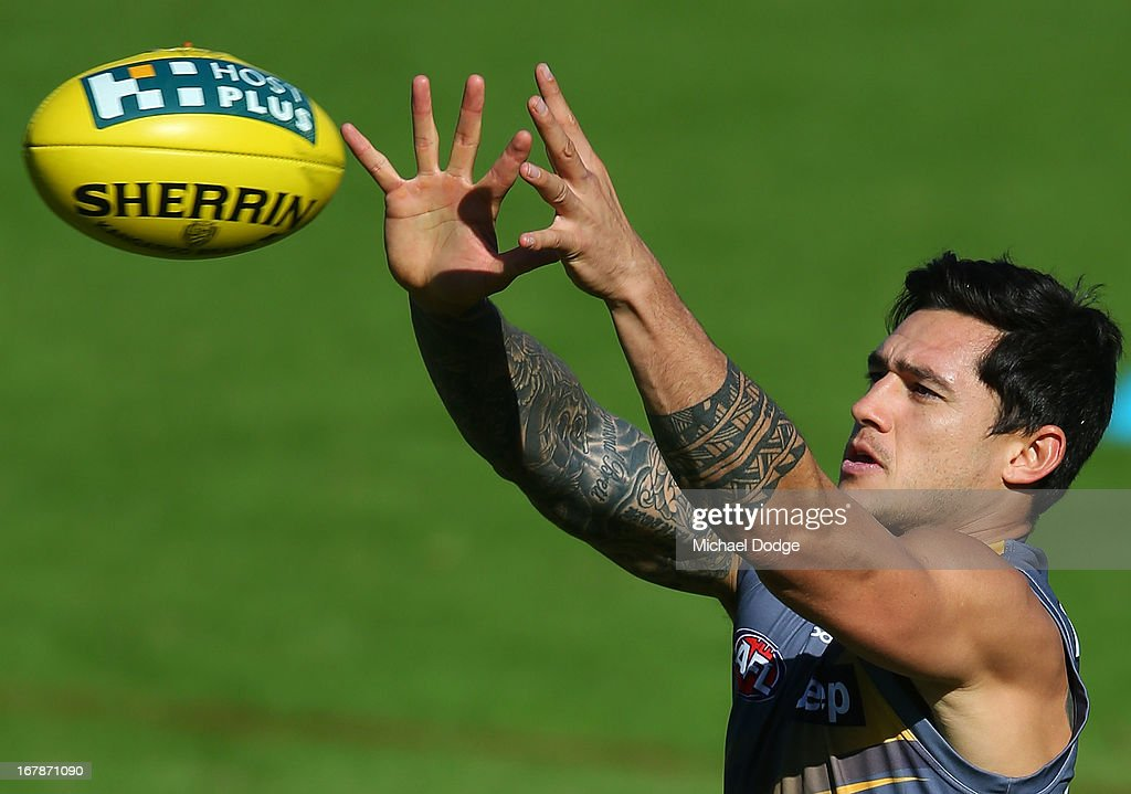 Aaron Edwards marks the ball during a Richmond Tigers AFL training session at ME Bank Centre on May 2, 2013 in Melbourne, Australia.