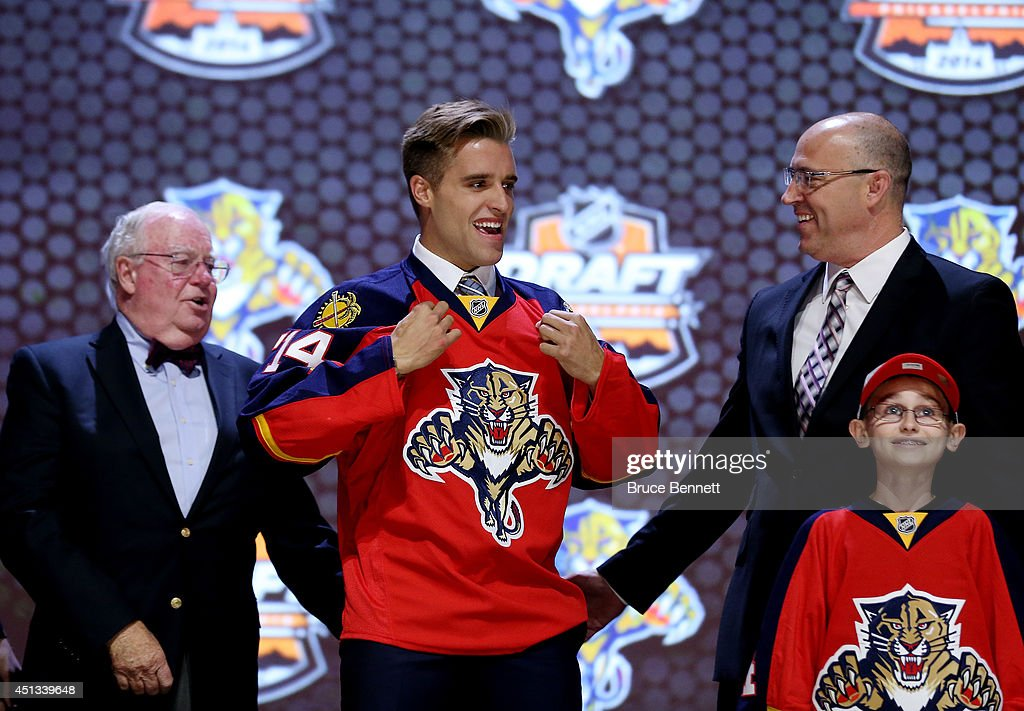 <a gi-track='captionPersonalityLinkClicked' href=/galleries/search?phrase=Aaron+Ekblad&family=editorial&specificpeople=8953211 ng-click='$event.stopPropagation()'>Aaron Ekblad</a> is selected first overall by the Florida Panthers in the first round of the 2014 NHL Draft at the Wells Fargo Center on June 27, 2014 in Philadelphia, Pennsylvania.