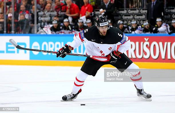 Aaron Ekblad of Canada skates against Switzerland during the IIHF World Championship group A match between Switzerland and Canada at o2 Arena on May...