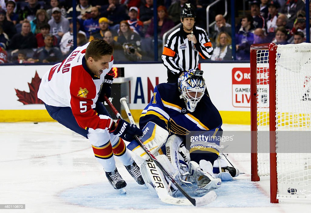Aaron Ekblad #5 of the Florida Panthers and Team Toews competes against Brian Elliott #1 of the St. Louis Blues and Team Foligno during the Discover NHL Shootout event of the 2015 Honda NHL All-Star Skills Competition at Nationwide Arena on January 24, 2015 in Columbus, Ohio.