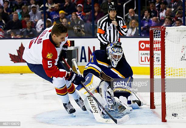 Aaron Ekblad of the Florida Panthers and Team Toews competes against Brian Elliott of the St Louis Blues and Team Foligno during the Discover NHL...