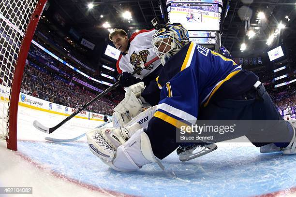 Aaron Ekblad of the Florida Panthers and Team Toews scores on Brian Elliott of the St Louis Blues and Team Foligno prior to the 2015 Honda NHL...