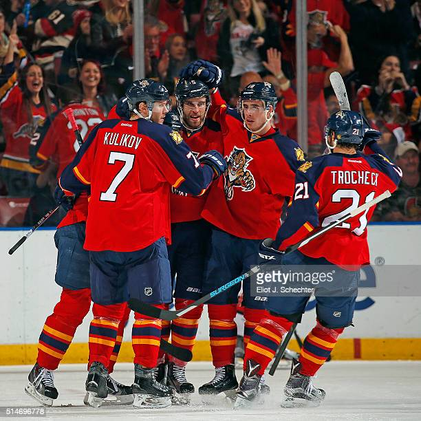 Aaron Ekblad of the Florida Panthers celebrates his goal with teammates during the second period against the Ottawa Senators at the BBT Center on...