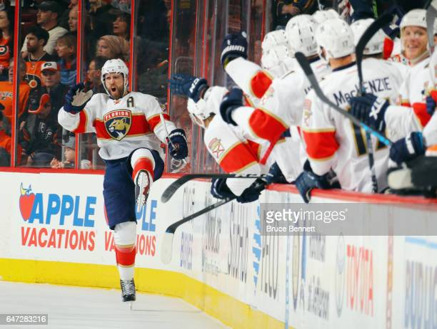Aaron Ekblad of the Florida Panthers celebrates his shorthanded goal at 1134 of the second period against the Philadelphia Flyers at the Wells Fargo...
