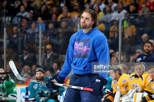 Aaron Ekblad of the Florida Panthers looks on in the AMP Energy NHL Hardest Shot during the 2016 Honda NHL AllStar Skill Competition at Bridgestone...