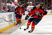 Aaron Ekblad of the Florida Panthers skates with the puck against the Montreal Canadiens at the BBT Center on April 2 2016 in Sunrise Florida