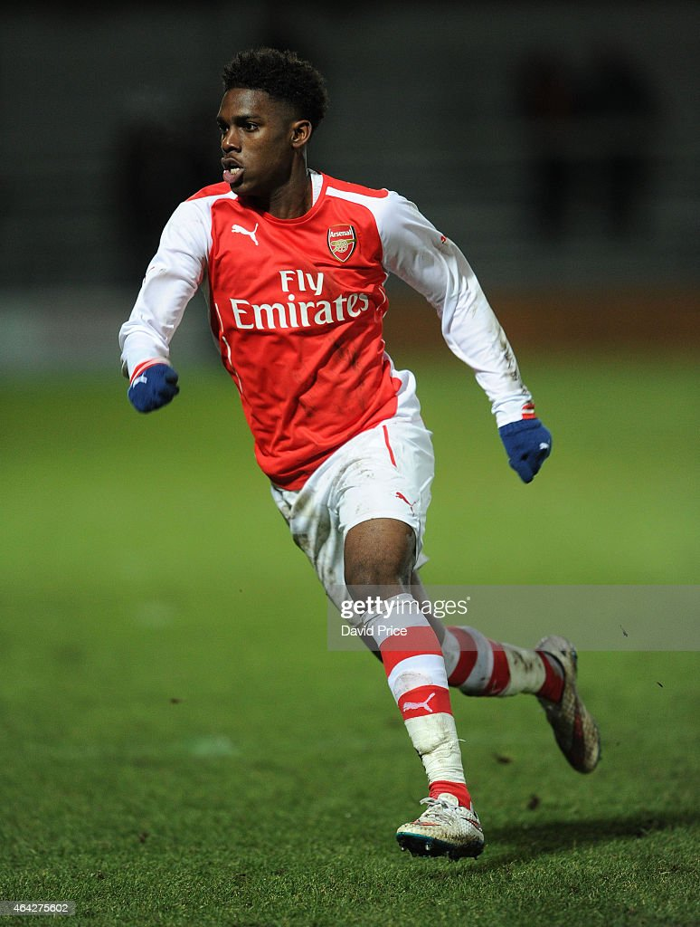 Aaron Eyoma of Arsenal during the match between Arsenal U18 and Crewe Alexandra U18 in the FA Youth Cup 5th Round at The Hive on February 23 2015 in...