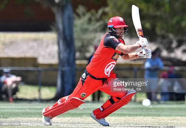 Aaron Finch bats in the official practice game during the Melbourne Renegades Family Day at Merv Hughes Oval on December 18 2016 in Melbourne...