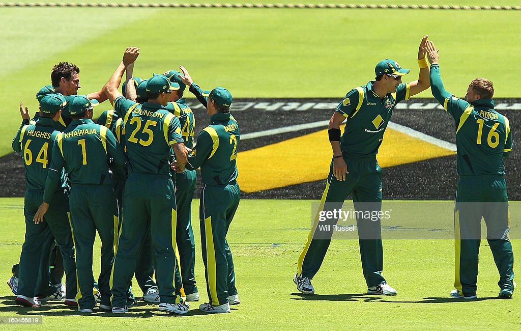 Aaron Finch is congratulated after taking the wicket of Chris Gayle of the West Indie during game one of the Commonwealth Bank One Day International Series between Australia and the West Indies at WACA on February 1, 2013 in Perth, Australia.