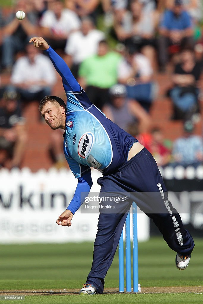 Aaron Finch of Auckland bowls during the HRV Cup Twenty20 Preliminary Final between the Wellington Firebirds and the Auckland Aces at Basin Reserve on January 18, 2013 in Wellington, New Zealand.