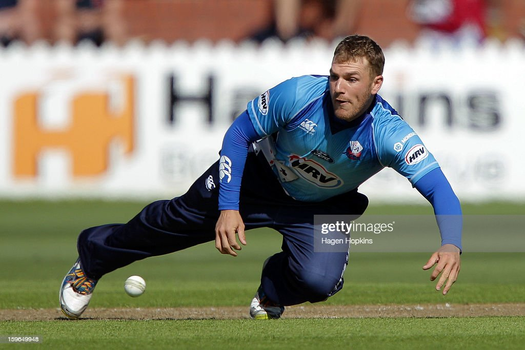 Aaron Finch of Auckland fields the ball during the HRV Cup Twenty20 Preliminary Final between the Wellington Firebirds and the Auckland Aces at Basin Reserve on January 18, 2013 in Wellington, New Zealand.