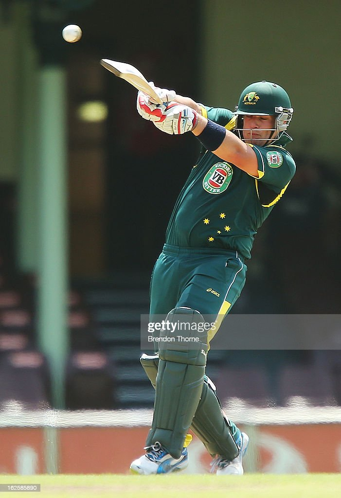 <a gi-track='captionPersonalityLinkClicked' href=/galleries/search?phrase=Aaron+Finch+-+Cricket+Player&family=editorial&specificpeople=724040 ng-click='$event.stopPropagation()'>Aaron Finch</a> of Australia 'A' bats during the International Tour match between Australia 'A' and the England Lions at Sydney Cricket Ground on February 25, 2013 in Sydney, Australia.