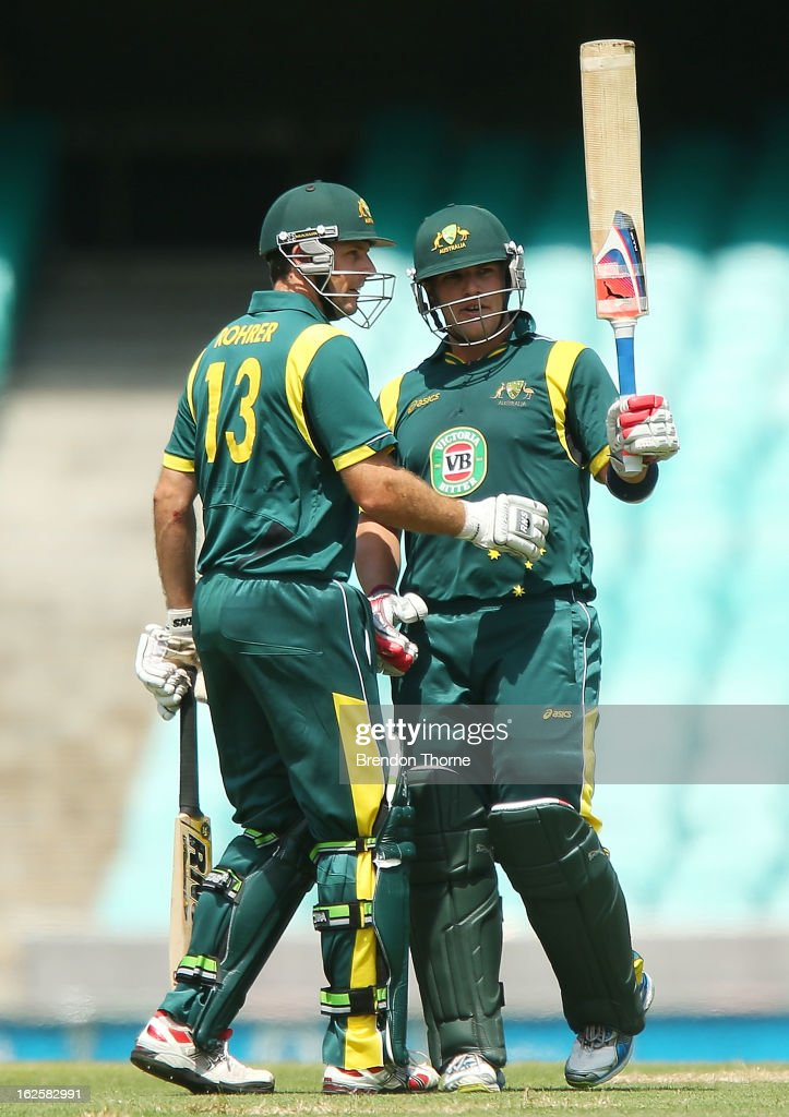 Aaron Finch of Australia 'A' celebrates scoring his century during the International Tour match between Australia 'A' and the England Lions at Sydney Cricket Ground on February 25, 2013 in Sydney, Australia.