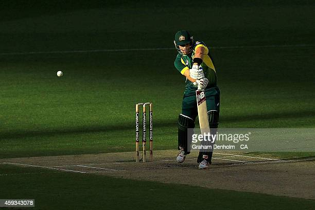 Aaron Finch of Australia bats during game four of the One Day International series between Australia and South Africa at Melbourne Cricket Ground on...