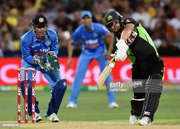 Aaron Finch of Australia bats during game one of the Twenty20 International match between Australia and India at Adelaide Oval on January 26 2016 in...