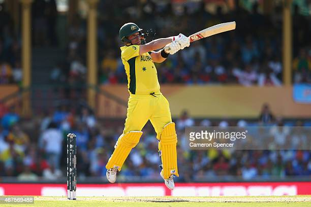 Aaron Finch of Australia bats during the 2015 Cricket World Cup Semi Final match between Australia and India at Sydney Cricket Ground on March 26...