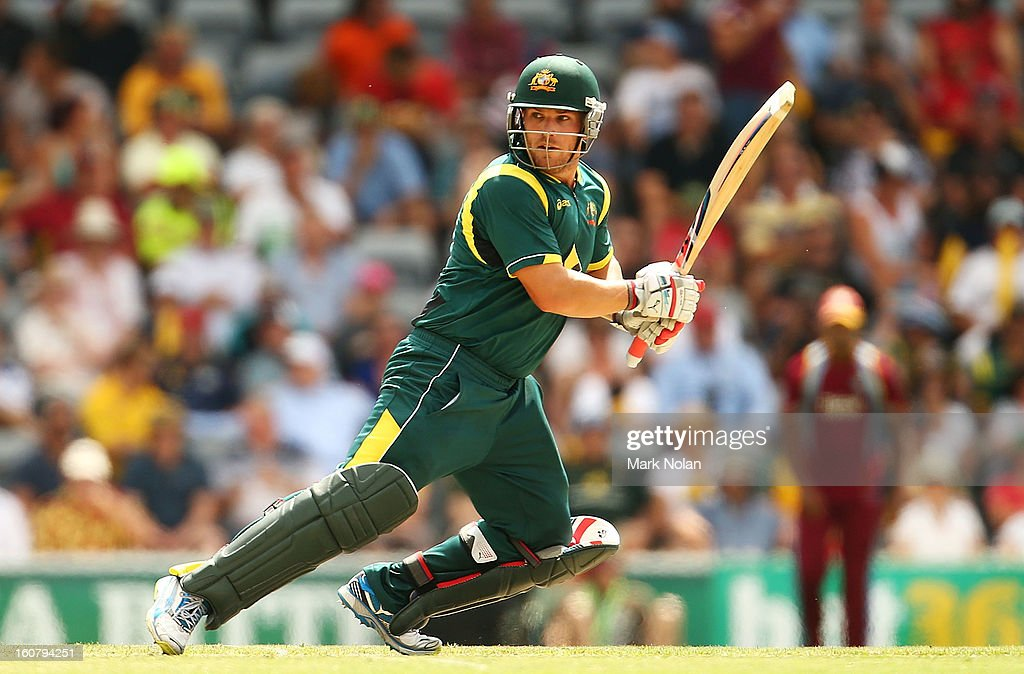 Aaron Finch of Australia bats during the Commonwealth Bank One Day International Series between Australia and the West Indies at Manuka Oval on February 6, 2013 in Canberra, Australia.