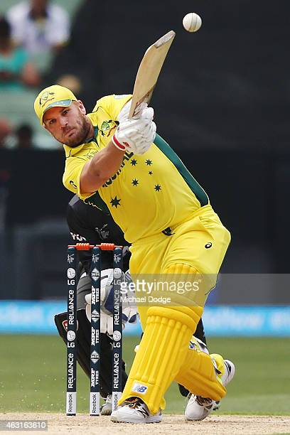 Aaron Finch of Australia bats during the Cricket World Cup warm up match between Australia and the United Arab Emirates at Melbourne Cricket Ground...