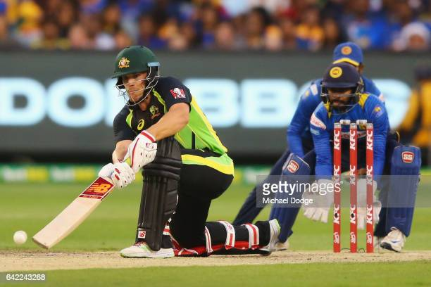 Aaron Finch of Australia bats during the first International Twenty20 match between Australia and Sri Lanka at Melbourne Cricket Ground on February...
