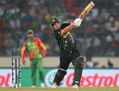 Aaron Finch of Australia bats during the ICC World Twenty20 Bangladesh 2014 match between Bangladesh and Australia at ShereBangla Mirpur Stadium on...