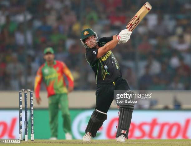 Aaron Finch of Australia bats during the ICC World Twenty20 Bangladesh 2014 match between Bangladesh and Australia at ShereBangla Mirpur Stadium on...