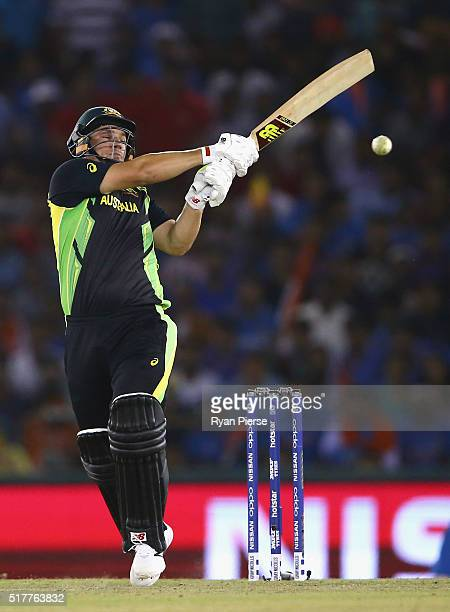Aaron Finch of Australia bats during the ICC WT20 India Group 2 match between India and Australia at IS Bindra Stadium on March 27 2016 in Mohali...