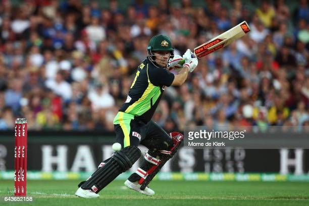 Aaron Finch of Australia bats during the International Twenty20 match between Australia and Sri Lanka at Adelaide Oval on February 22 2017 in...