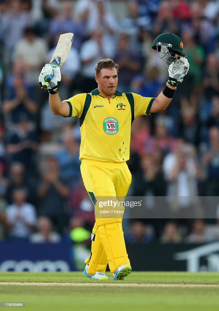 <a gi-track='captionPersonalityLinkClicked' href=/galleries/search?phrase=Aaron+Finch+-+Cricket+Player&family=editorial&specificpeople=724040 ng-click='$event.stopPropagation()'>Aaron Finch</a> of Australia celebrates his century during the 1st NatWest Series T20 match between England and Australia at Ageas Bowl on August 29, 2013 in Southampton, England.