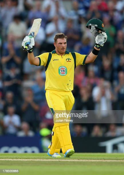 Aaron Finch of Australia celebrates his century during the 1st NatWest Series T20 match between England and Australia at Ageas Bowl on August 29 2013...