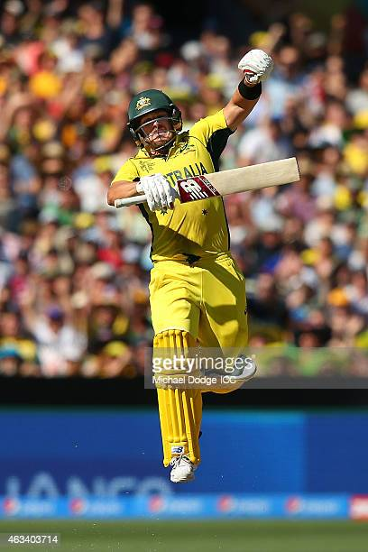 Aaron Finch of Australia celebrates his century during the 2015 ICC Cricket World Cup match between England and Australia at Melbourne Cricket Ground...