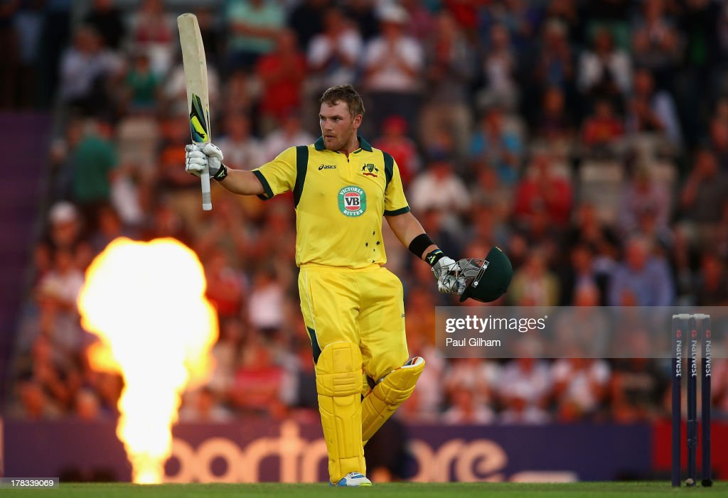 <a gi-track='captionPersonalityLinkClicked' href=/galleries/search?phrase=Aaron+Finch+-+Cricket+Player&family=editorial&specificpeople=724040 ng-click='$event.stopPropagation()'>Aaron Finch</a> of Australia celebrates making 150 runs during the 1st NatWest Series T20 match between England and Australia at Ageas Bowl on August 29, 2013 in Southampton, England.