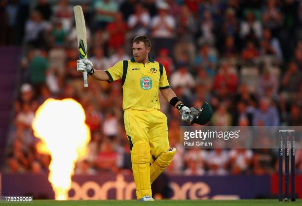 Aaron Finch of Australia celebrates making 150 runs during the 1st NatWest Series T20 match between England and Australia at Ageas Bowl on August 29...