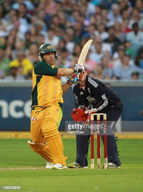 Aaron Finch of Australia hits out during the Second Twenty20 International Match between Australia and England at Melbourne Cricket Ground on January...