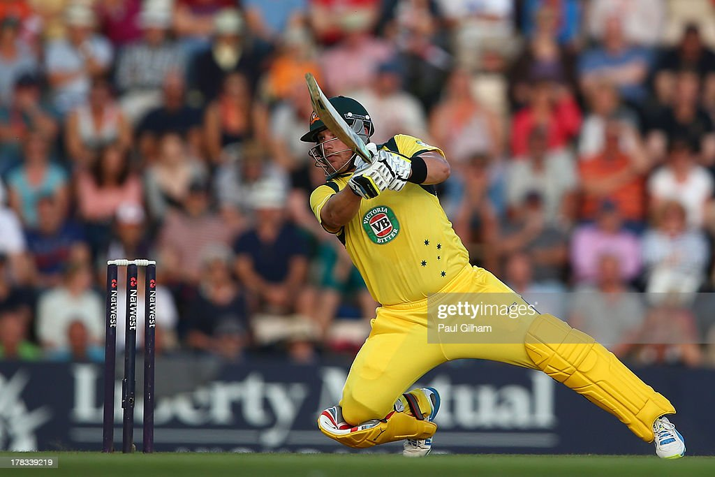 <a gi-track='captionPersonalityLinkClicked' href=/galleries/search?phrase=Aaron+Finch+-+Cricket+Player&family=editorial&specificpeople=724040 ng-click='$event.stopPropagation()'>Aaron Finch</a> of Australia hits out on his way to making 150 runs during the 1st NatWest Series T20 match between England and Australia at Ageas Bowl on August 29, 2013 in Southampton, England.