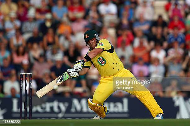 Aaron Finch of Australia hits out on his way to making 150 runs during the 1st NatWest Series T20 match between England and Australia at Ageas Bowl...