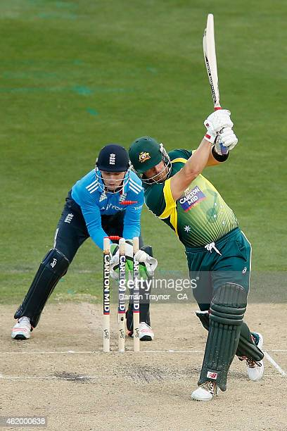 Aaron Finch of Australia is bowled by Moeen Ali of England during the One Day International Tri Series match between Australia and England at...